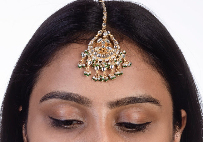Small Tikka With Green Hangings Head Sets Riana by Shikha Jindal