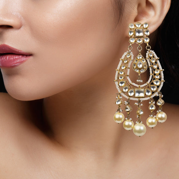 Square Chand Baali With Pearl Earrings Riana by Shikha Jindal