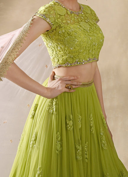 Starflower Lime Green Lehenga Set Lehenga Renee