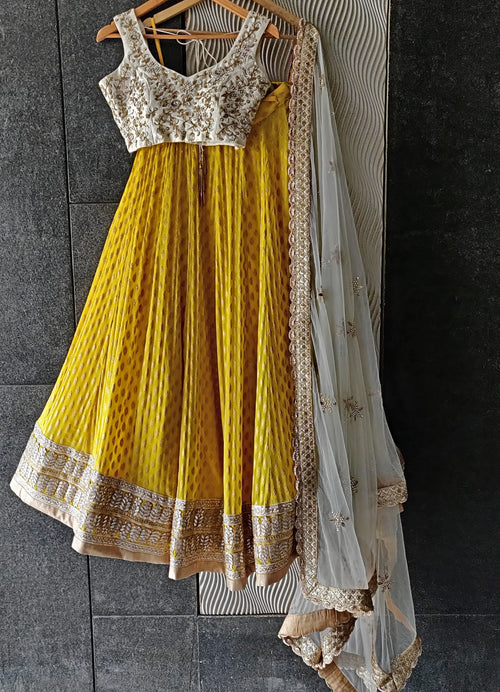Sunshine Yellow Lehenga with Embroidered Ivory Blouse and Ivory Dupatta Lehenga Priti Sahni