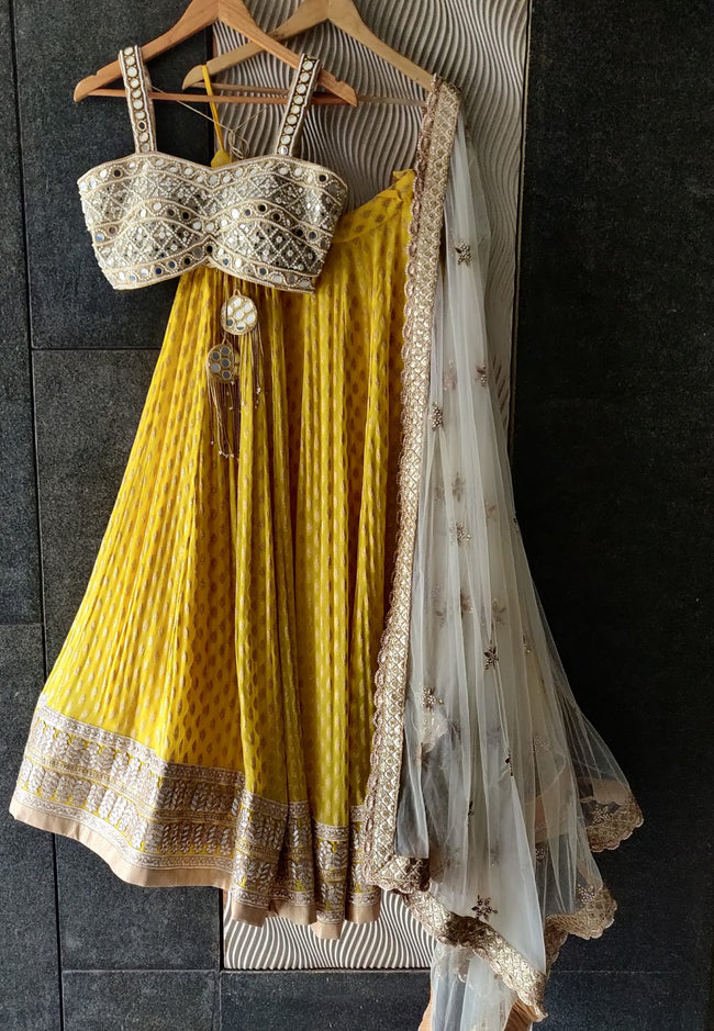 Sunshine Yellow Lehenga with Mirror work Bustier and Ivory Dupatta Lehenga Priti Sahni