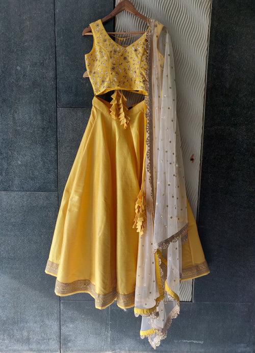 Sunshine Yellow Silk Lehenga Set with Ivory Sequins Dupatta Lehenga Priti Sahni