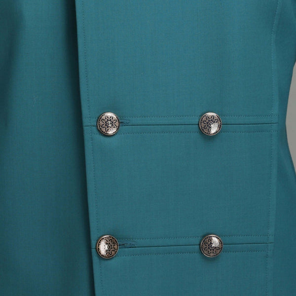 Teal Bandhgala With Button Detail Men Chatenya Mittal