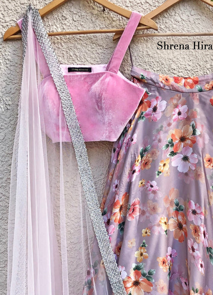 Tiger Lily Skirt with Soft Pink Velvet Blouse with Soft Pink Tulle Dupatta Lehenga Shrena Hirawat