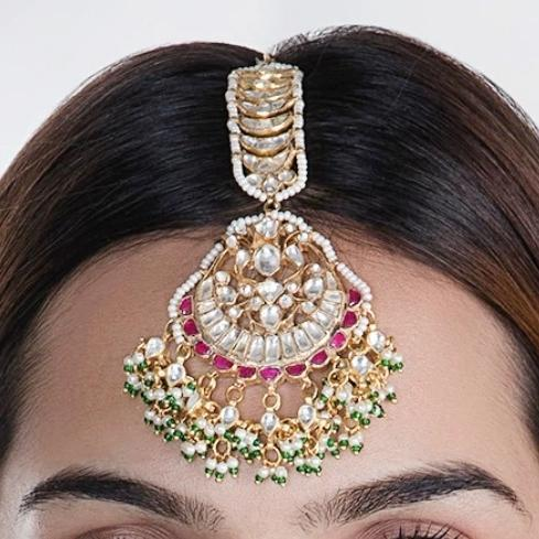 Tikka Studded With White And Pink Jadtar Stones And Beaded With Tiny Pearls And Green Beads Head Sets Riana by Shikha Jindal