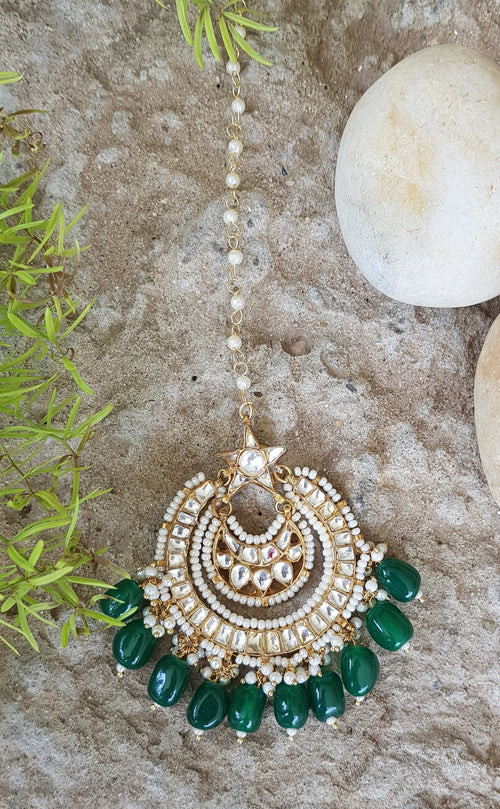 Tikka With Star Shaped Design On Jadtar Stones And Green Hangings Head Sets Riana by Shikha Jindal