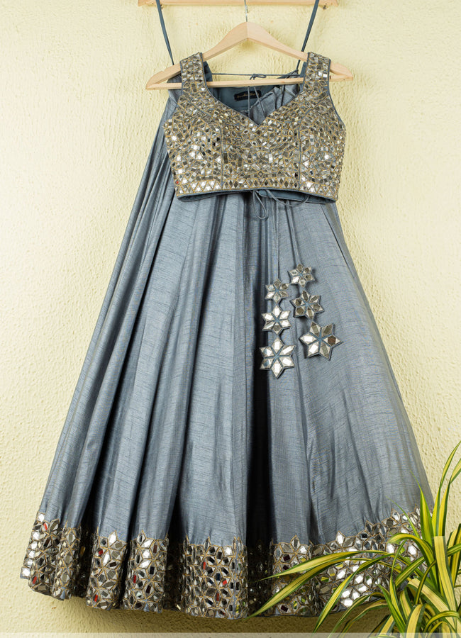 Tinged Blue Shimmer Mirror Work Lehenga Set Lehenga Anisha Shetty