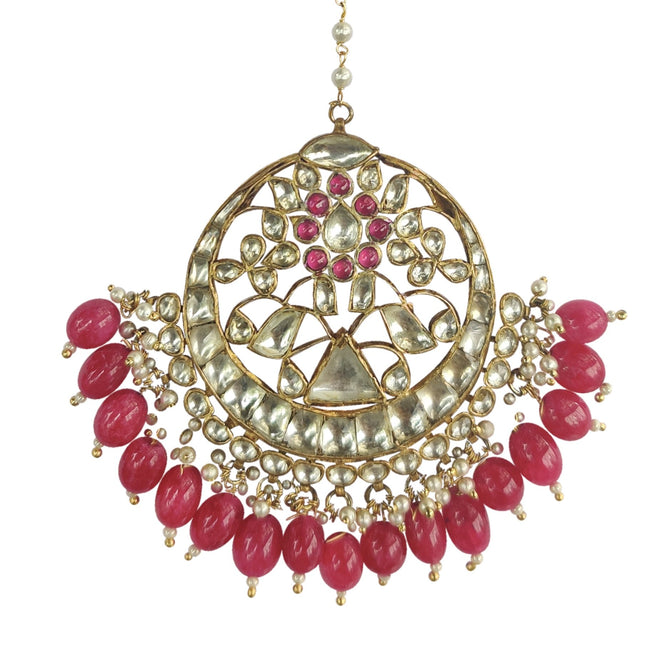 Triangle Tikka With Maroon Beads Head Sets Riana by Shikha Jindal