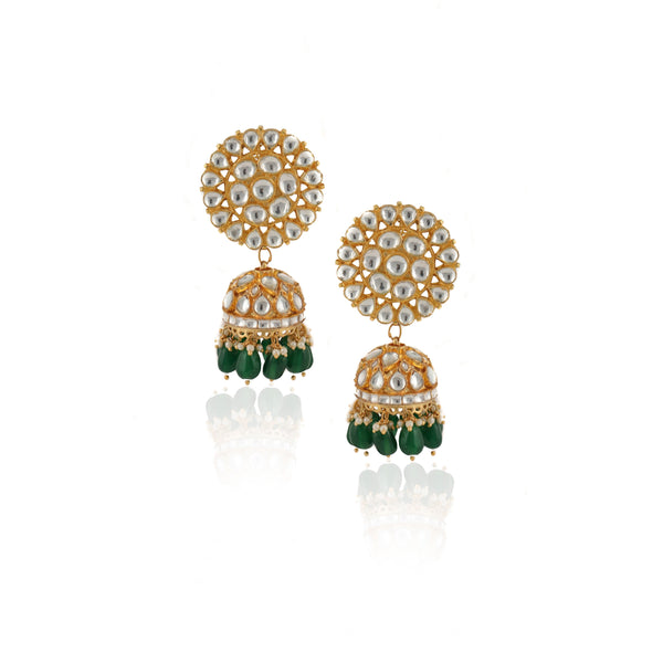 White And Green Jadtar Stone 2 Line Choker Bridal Set With Jhumki Earrings Necklace Set Riana by Shikha Jindal