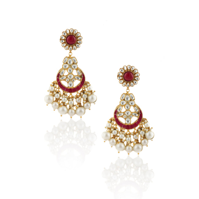 White And Hot Pink Floral Stone Earrings With Pearl Earrings Riana by Shikha Jindal