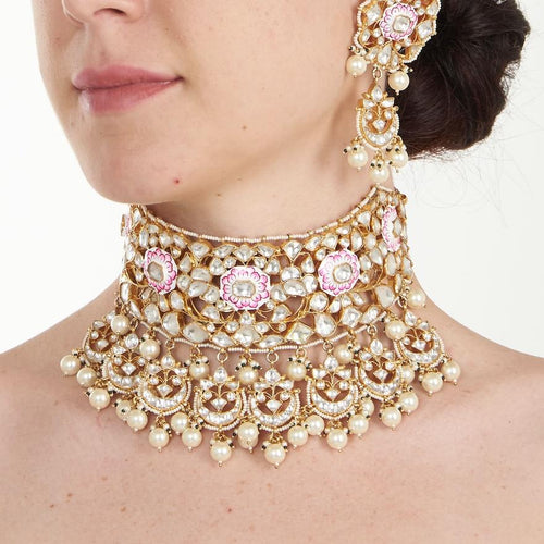 White And Pink Meena Necklace Set With Pearl Necklace Set Riana by Shikha Jindal