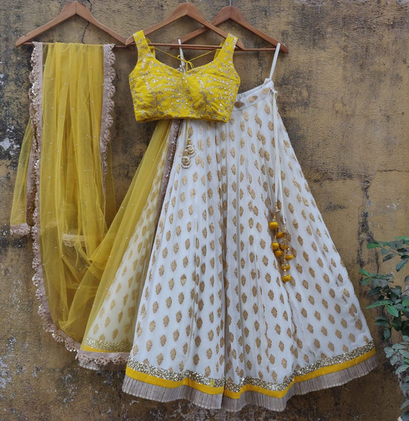 White and Yellow Ruffle Lehenga Set Lehenga Priti Sahni