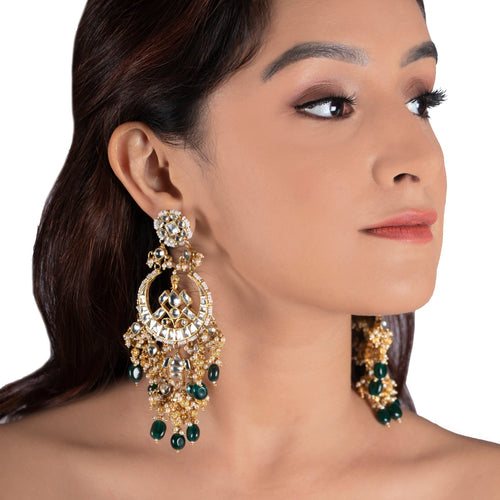 White Chand Baali With Golden Balls And Forest Green Beads Earrings Riana by Shikha Jindal