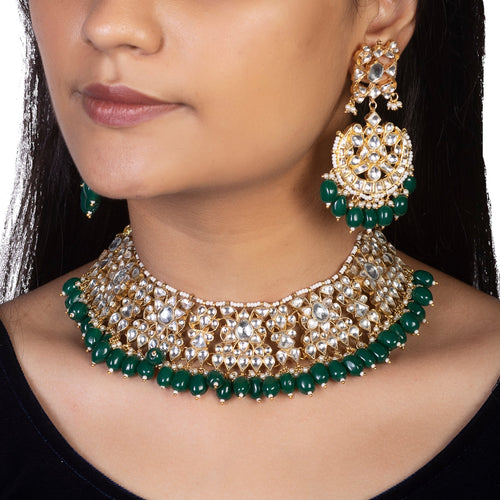 White Choker Set With Green Beads Necklace Set Riana by Shikha Jindal