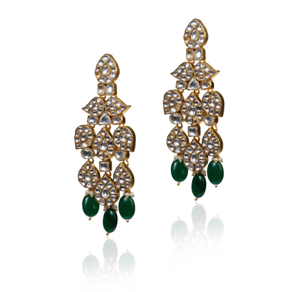 White Earrings With Green Hangings Earrings Riana by Shikha Jindal