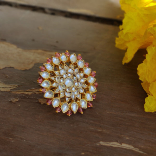 White Jadtar And Light Pink Beads Floral Ring Ring Riana by Shikha Jindal