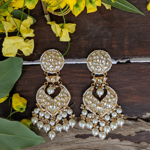 White Jadtar Stone Earrings With 2 Layer Pearl Beads Earrings Riana by Shikha Jindal