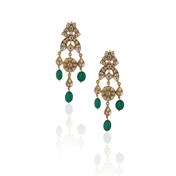 White Jadtar Stone Earrings With Green Beads Earrings Riana by Shikha Jindal