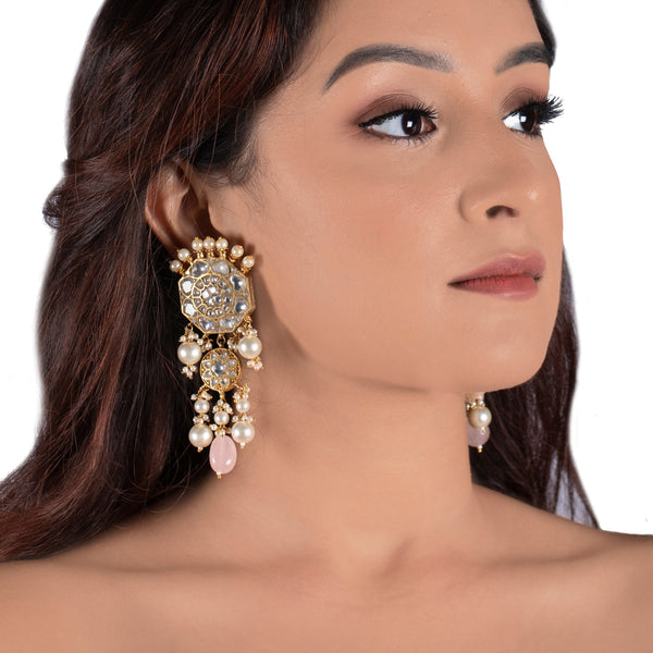 White Jadtar Stone Earrings With Pearl And Light Pink Beads Earrings Riana by Shikha Jindal