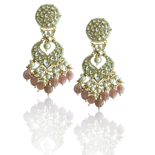 White Kundan Earrings With 2 Layer Pearl and Pastel Pink Beads Earrings Riana by Shikha Jindal