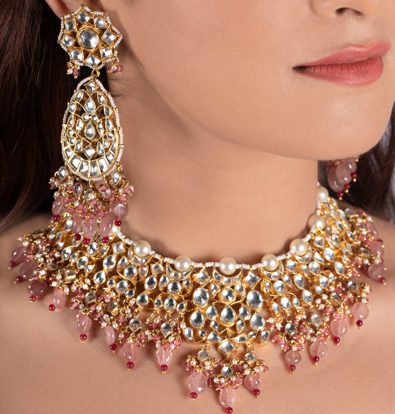 White Kundan Necklace with Beaded Moti and Pearl Line and Pastel Pink Beads Necklace Set Riana by Shikha Jindal