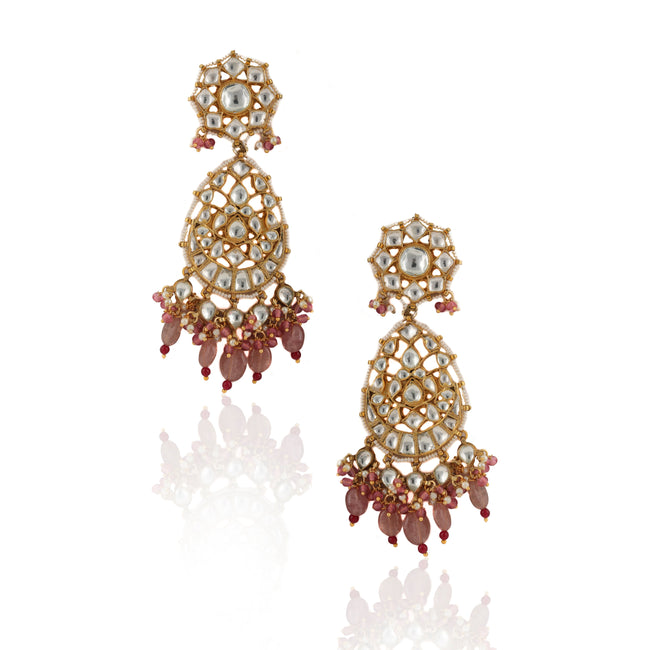 White Oval Earrings With Pastel Pink Beads and Moti Details Earrings Riana by Shikha Jindal