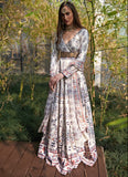 White Printed Satin Silk Anarkali Anarkali Rashika Sharma