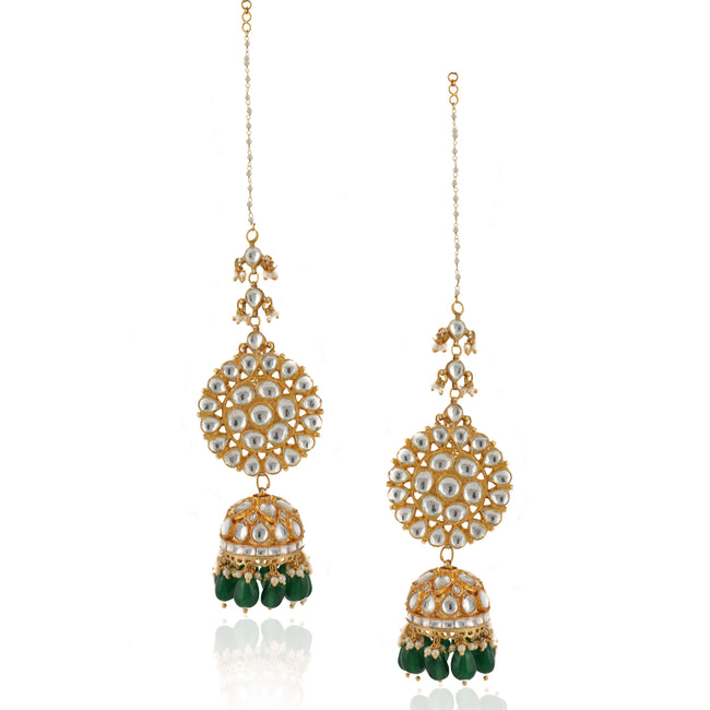 White Round Big Tops With Jhumki With Green Beads and Ear Chain Earrings Riana by Shikha Jindal