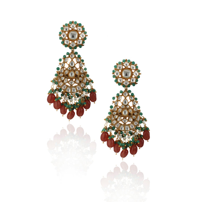 White Stone Earrings Light Green Hangings With Pink Beads Earrings Riana by Shikha Jindal