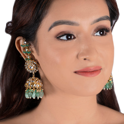 White Stone Jhumki And Sea Green Beads With White Hanging Ear Chain Earrings Riana by Shikha Jindal