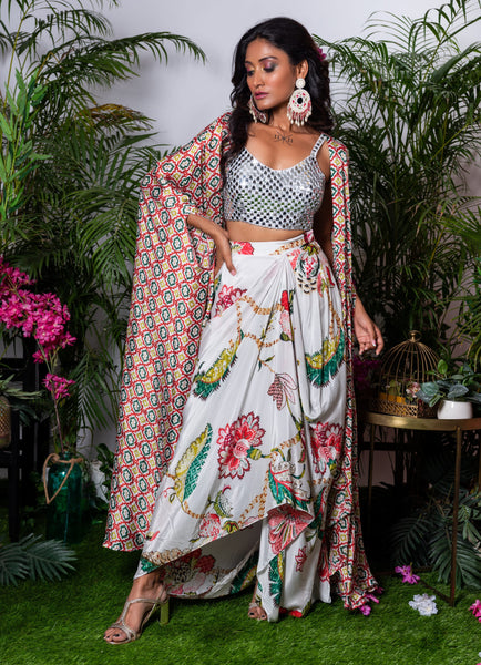 Wildflower Dhoti Set with Mirror Blouse Fusion Juhi Bengani