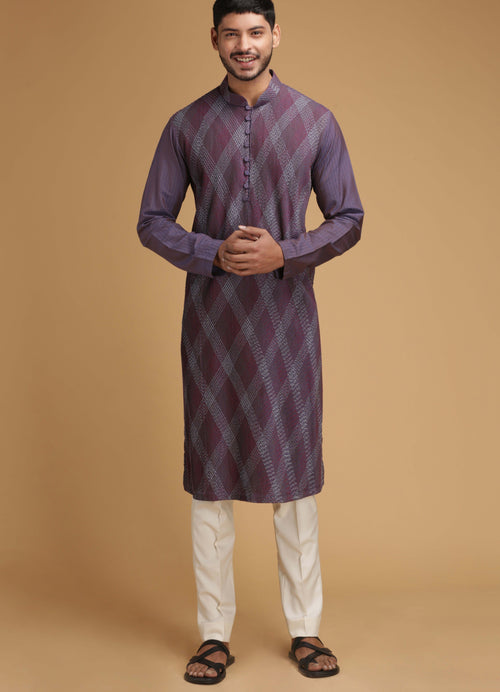 Wine Geometrical Silk Kurta Set Men Chatenya Mittal
