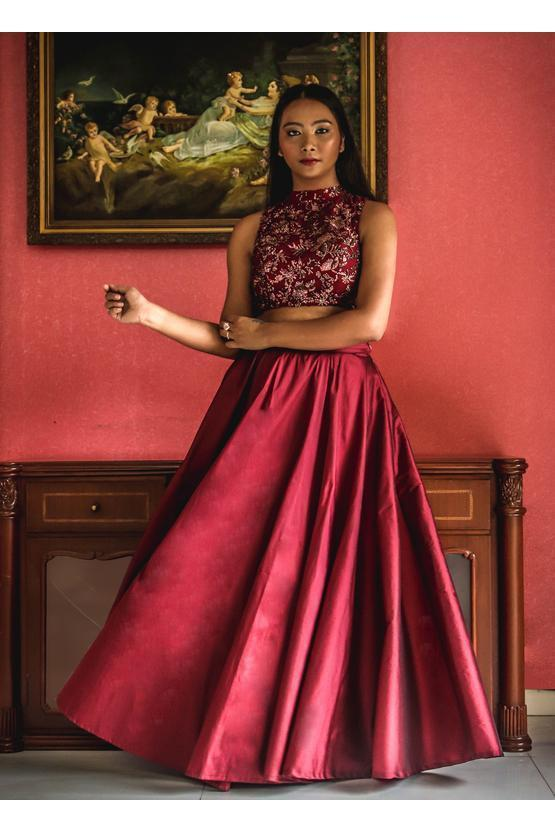 Wine Sequins Work Blouse And Skirt Lehenga Shrena Hirawat