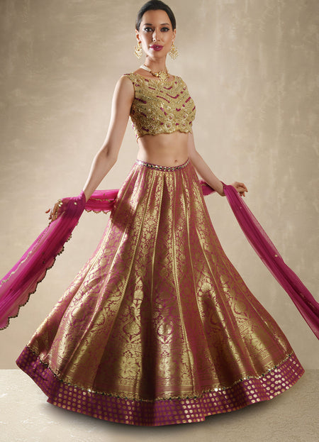 Hibiscus Red Satin Bandhani Lehenga Set