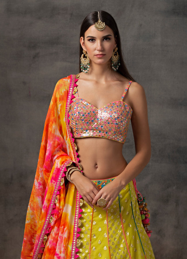 Yellow Benarsi Brocade Lehenga Set with Rainbow Mirror work Blouse Lehenga Avnni Kapur