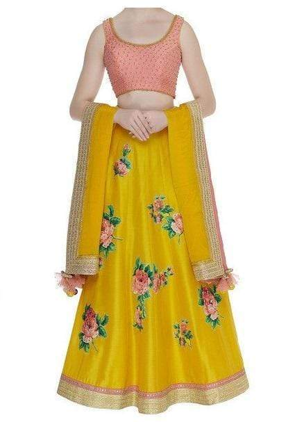 Yellow Floral printed lehenga with Peach Hand Embroidered Blouse Lehenga Avnni Kapur