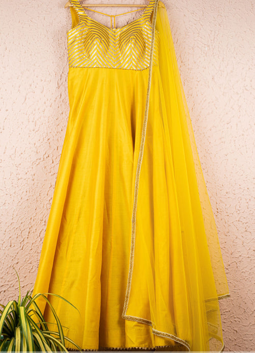 Yellow Gota Silk Anarkali Ready to Ship Anisha Shetty
