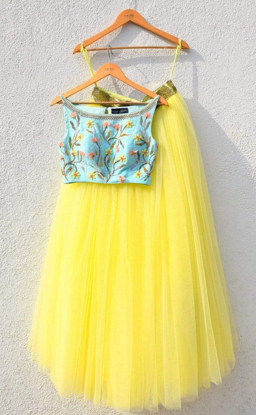 Yellow Lehenga With Blue Crop Top Lehenga Anisha Shetty