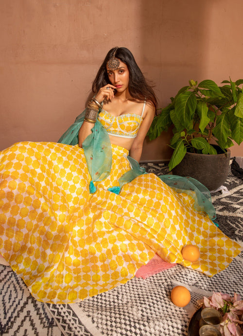 Yellow Moroccan Print and Cherries Set Lehenga The Little Black Bow