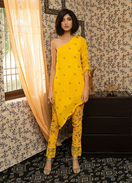 Mango Yellow Chanderi Silk Gota Embroidered Ankle Length Dress