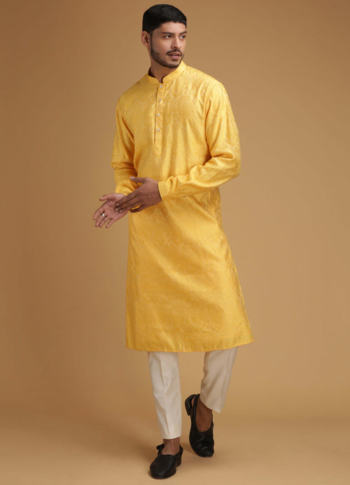 Yellow Self Design Silk Kurta Set Men Chatenya Mittal
