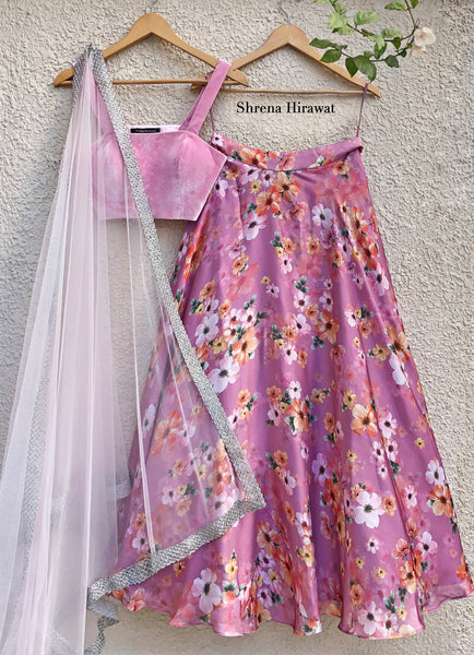 Zephyr Skirt with Soft Pink Velvet Blouse with Soft Pink Tulle Dupatta Lehenga Shrena Hirawat