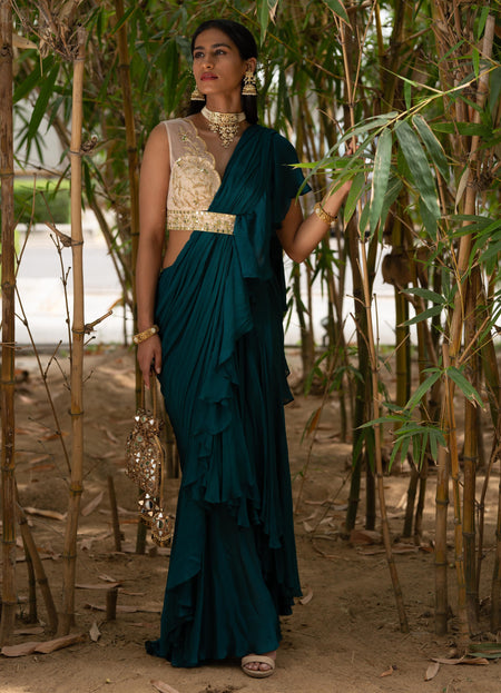 Crimson Ruffle Chiffon Saree with Champagne Gold Silk Blouse