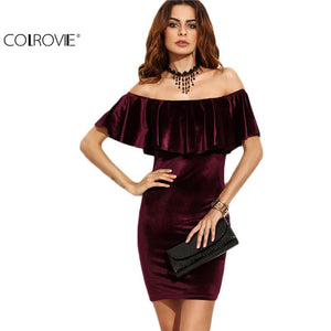 Velvet Bodycon Party Wear Dress - Short Sleeve Club Wear Mini Dress