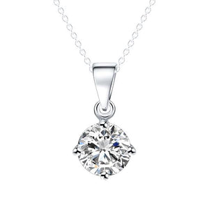 Silver and Gold Color Round Shape Cubic Zirconia Pendant Necklace for Women Wedding Jewelry