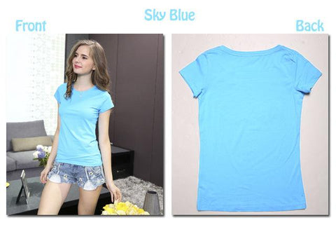 Cotton Elastic T-shirts Female Casual Tops