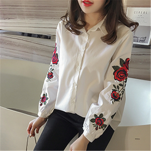 New Spring Flower Embroidered Female Shirt