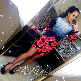 Autumn Floral Printed O-neck Bodycon Mini dresses Party wear Long sleeve Sheath dress