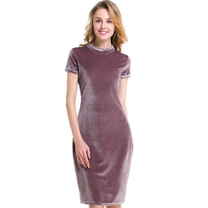 Winter Velvet Party Wear Hood Bodycon Midi Slim Pencil Dress - Knee Length