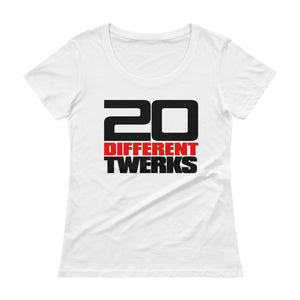 Ladies' Scoopneck T-Shirt (20 Different Twerks-white)